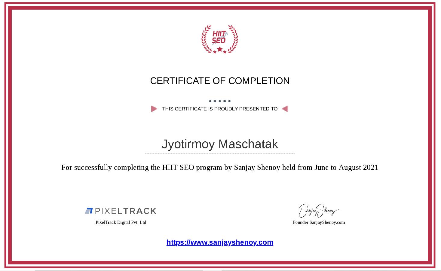hiit seo blockchain verified certificate